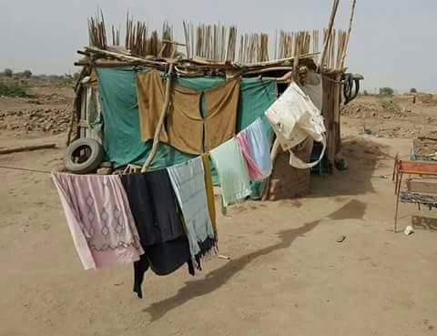 بالصور: مجموعة شباب سودانيين يتداعون عبر مواقع التواصل لتشييد منزل لأرملة وأيتامها ينامون في العراء